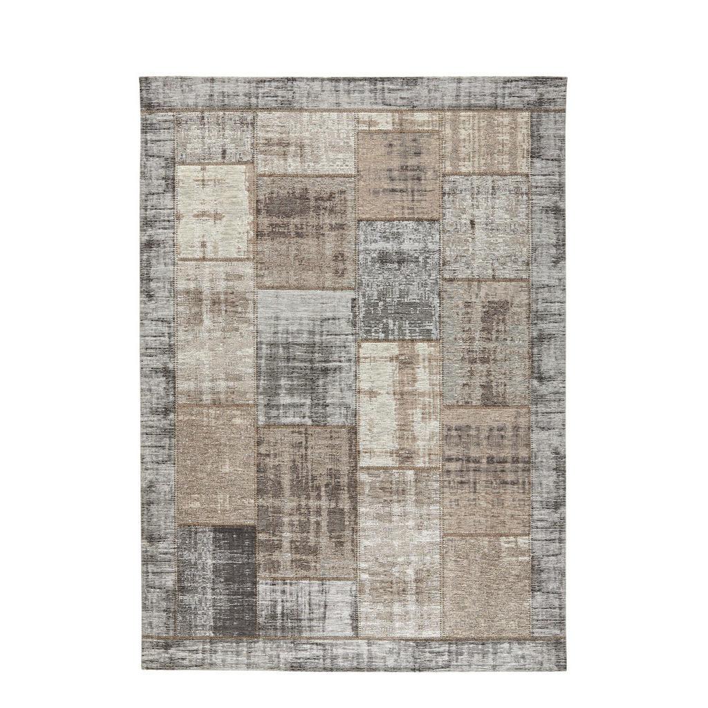 Novel Flachwebeteppich , Grau, Beige , Textil , Patchwork , rechteckig , 130 cm , in verschiedenen Größen erhältlich , Teppiche & Böden, Teppiche, Moderne Teppiche