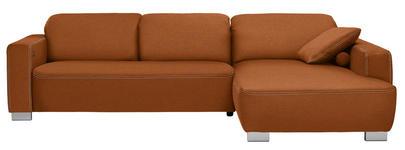 WOHNLANDSCHAFT in Textil Braun, Orange - Chromfarben/Braun, Design, Holz/Textil (296/195cm) - Hom`in