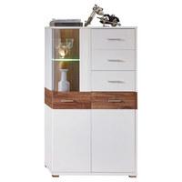 HIGHBOARD in Akaziefarben, Weiß - Chromfarben/Silberfarben, Design, Glas/Holzwerkstoff (77/138/38cm) - XORA