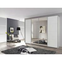 OMARA Z DRSNIMI VRATI, bela - bela/krom, Design, kovina/steklo (271/230/62cm) - CARRYHOME