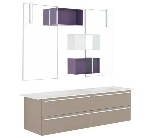 BADEZIMMER - Violett/Weiß, Design, Glas/Holz (170cm) - Dieter Knoll