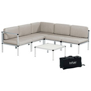LOUNGEGARNITUR 19-teilig - Beige/Alufarben, Design, Textil/Metall (210/210cm)