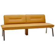 SITZBANK  in Currygelb, Edelstahlfarben - Currygelb/Edelstahlfarben, Design, Leder/Metall (210cm) - Dieter Knoll