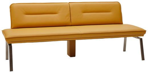 SITZBANK Echtleder Currygelb, Edelstahlfarben - Currygelb/Edelstahlfarben, Design, Leder/Metall (210cm) - Dieter Knoll