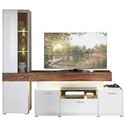 WOHNWAND in Akaziefarben, Weiß - Chromfarben/Silberfarben, Design, Glas/Holzwerkstoff (228/200/52cm) - XORA