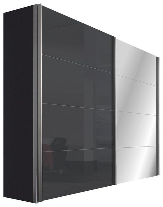 SCHWEBETÜRENSCHRANK 2-türig Graphitfarben, Grau - Graphitfarben/Alufarben, Design, Glas/Holzwerkstoff (250/216/68cm) - Hom`in