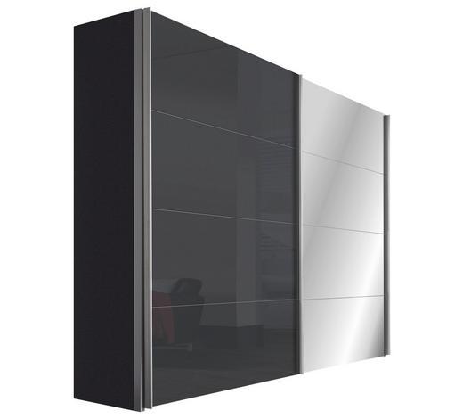 SCHWEBETÜRENSCHRANK 2-türig Graphitfarben  - Graphitfarben/Alufarben, Design, Glas/Holzwerkstoff (250/216/68cm) - Hom`in