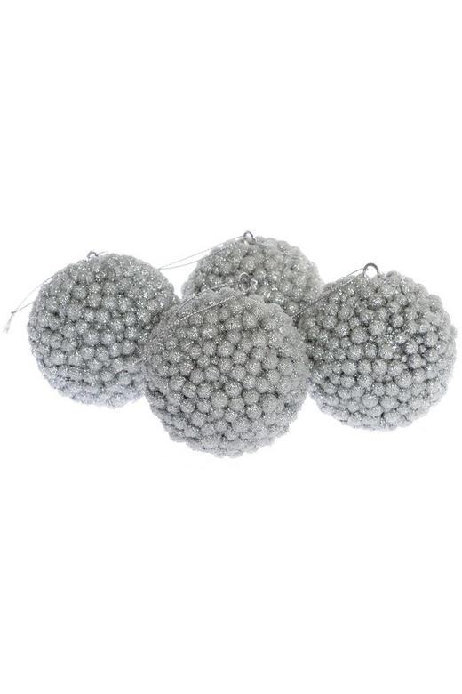 CHRISTBAUMKUGEL-SET  4-teilig Silberfarben - Silberfarben, Kunststoff (8cm)