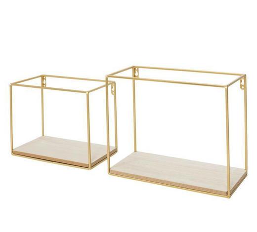 WANDREGAL - Goldfarben/Kieferfarben, Design, Holz/Metall (30/25/14cm)