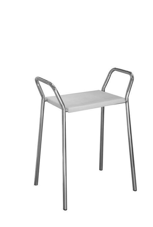 BADHOCKER - Chromfarben/Weiß, Design, Kunststoff/Metall (60/72/38cm)