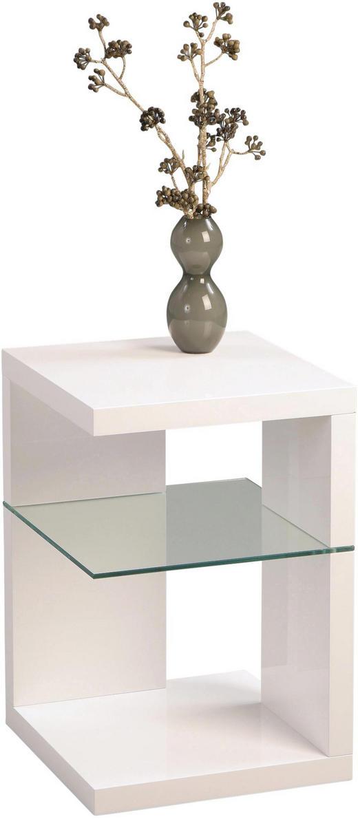 BEISTELLTISCH quadratisch Weiß - Weiß, Design, Glas (40/60/40cm)