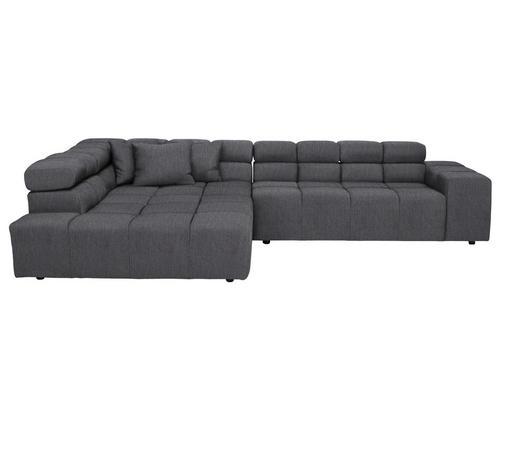 WOHNLANDSCHAFT in Textil Grau  - Schwarz/Grau, Design, Kunststoff/Textil (215/319cm) - Hom`in