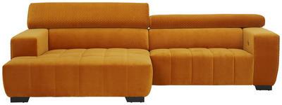WOHNLANDSCHAFT in Textil Gelb  - Gelb/Schwarz, KONVENTIONELL, Textil/Metall (182/279cm) - Hom`in