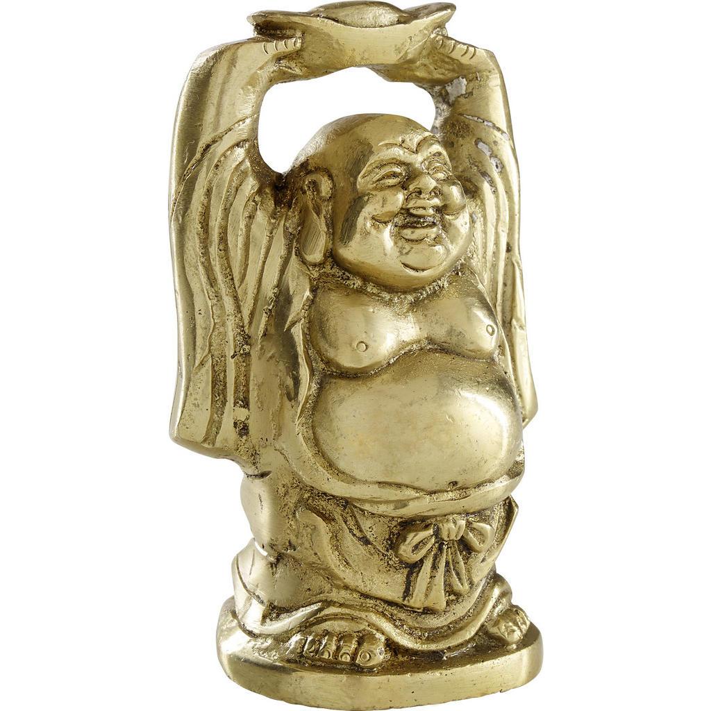 Image of Ambia Home Buddha 9/6 cm , Up Hand Laughing Buddha , Goldfarben , Metall , 9x6 cm , Kunsthandwerk, stehend, zum Stellen, handgemacht , 004345016748