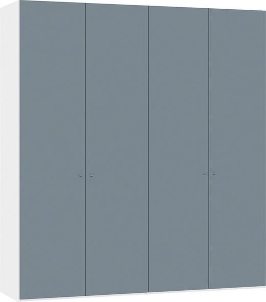 DREHTÜRENSCHRANK 3-türig Weiß, Hellblau - Silberfarben/Weiß, Design, Glas/Holzwerkstoff (202,5/220/58,5cm) - Jutzler