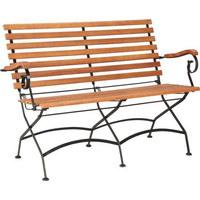 VRTNA KLUPA - boje tikovine/crna, Romantično / ladanjski, drvo/metal (123/86/48cm) - AMBIA GARDEN