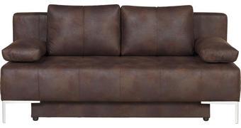 ZOFA S POSTELJNO FUNKCIJO,  rjava tekstil  - krom/rjava, Design, kovina/tekstil (193/85/89cm) - Carryhome
