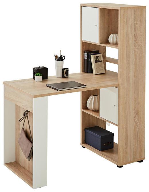 Mini Office Schreibtisch Seitenverkehrt Montierbar Eichefarben Weiss