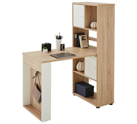 MINI-OFFICE Schreibtisch seitenverkehrt montierbar Weiß, Eichefarben - Eichefarben/Weiß, Design (64,8/145,1/114,1cm) - Carryhome