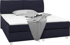 BOXSPRINGBETT 160 cm   x 200 cm   in Textil Blau - Chromfarben/Blau, Design, Kunststoff/Textil (160/200cm) - Hom`in