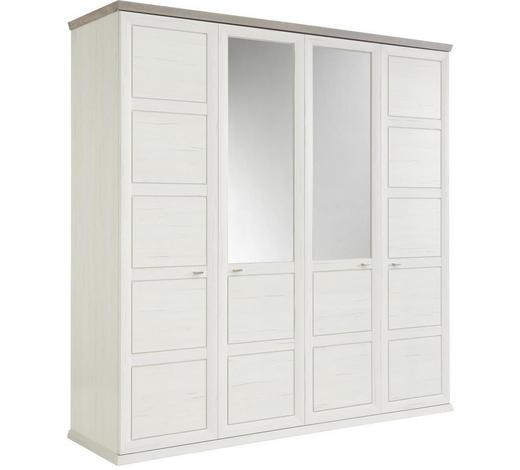 DREHTÜRENSCHRANK 4-türig Grau, Weiß  - Weiß/Grau, LIFESTYLE, Glas/Holzwerkstoff (205/209/60cm) - Hom`in