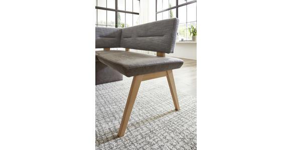 ECKBANK Flachgewebe Asteiche Hartholz Grau, Eichefarben  - Eichefarben/Grau, KONVENTIONELL, Holz/Textil (172/132cm) - Venda