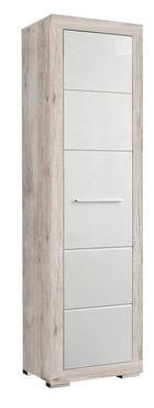 GARDEROBENSCHRANK Hochglanz Eichefarben, Weiß - Eichefarben/Alufarben, Holzwerkstoff/Kunststoff (58,4/198,4/36,3cm) - CARRYHOME