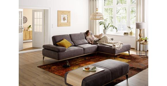 WOHNLANDSCHAFT Braun Flachgewebe  - Beige/Braun, Design, Textil/Metall (298/178cm) - Valnatura