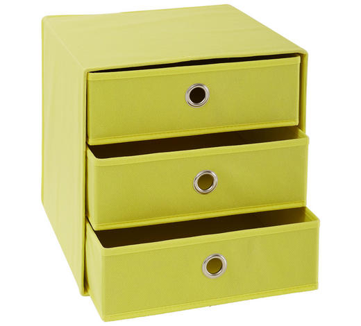 FALTBOX Metall, Textil, Karton Gelb, Silberfarben  - Gelb/Silberfarben, Design, Karton/Textil (32/32/31,5cm) - Carryhome