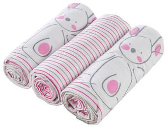 LÁTKOVÉ PLENY - bílá/růžová, Basics, textil (75/75cm) - MY BABY LOU