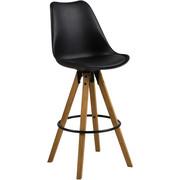 BARSKI STOL, črna, hrast  - črna/hrast, Design, kovina/umetna masa (44/85/42cm) - Carryhome