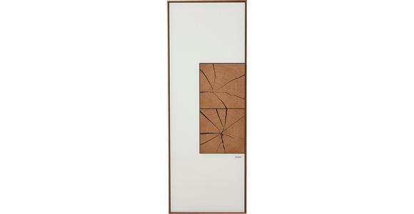 HÄNGEELEMENT Kerneiche vollmassiv Weiß, Eichefarben  - Eichefarben/Weiß, Design, Glas/Holz (50/137/39cm) - Valnatura