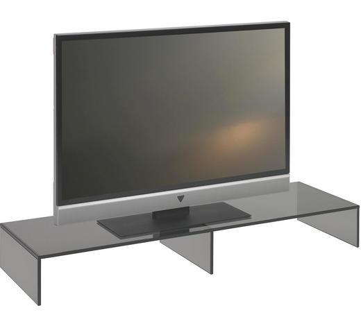 TV NÁSTAVEC, sklo, šedá - šedá, Design, sklo (110/14/35cm) - Boxxx