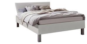 BETT 140/200 cm  in Weiß   - Alufarben/Weiß, Design, Holzwerkstoff/Textil (140/200cm) - Hom`in