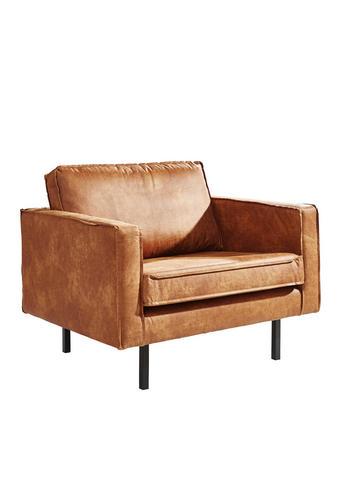 SESSEL Lederlook Braun    - Schwarz/Braun, Design, Textil/Metall (105/85/86cm) - Ambia Home
