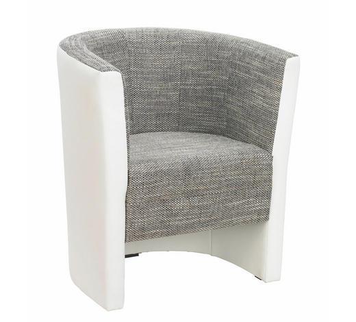 SESSEL Lederlook, Webstoff Grau, Weiß    - Wengefarben/Weiß, Design, Holz/Textil (70/77/60cm) - Carryhome