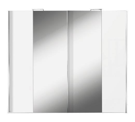 SCHWEBETÜRENSCHRANK in Weiß  - Alufarben/Weiß, Design, Glas/Holzwerkstoff (250/216/68cm) - Hom`in