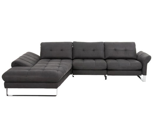 WOHNLANDSCHAFT in Leder Dunkelgrau - Chromfarben/Dunkelgrau, Design, Leder/Metall (211/309cm) - Joop!
