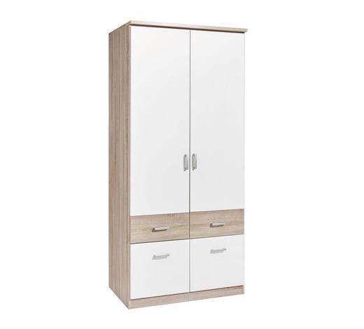 KLEIDERSCHRANK in Weiß, Sonoma Eiche - Silberfarben/Weiß, Design, Holzwerkstoff/Kunststoff (91/199/56cm) - Boxxx