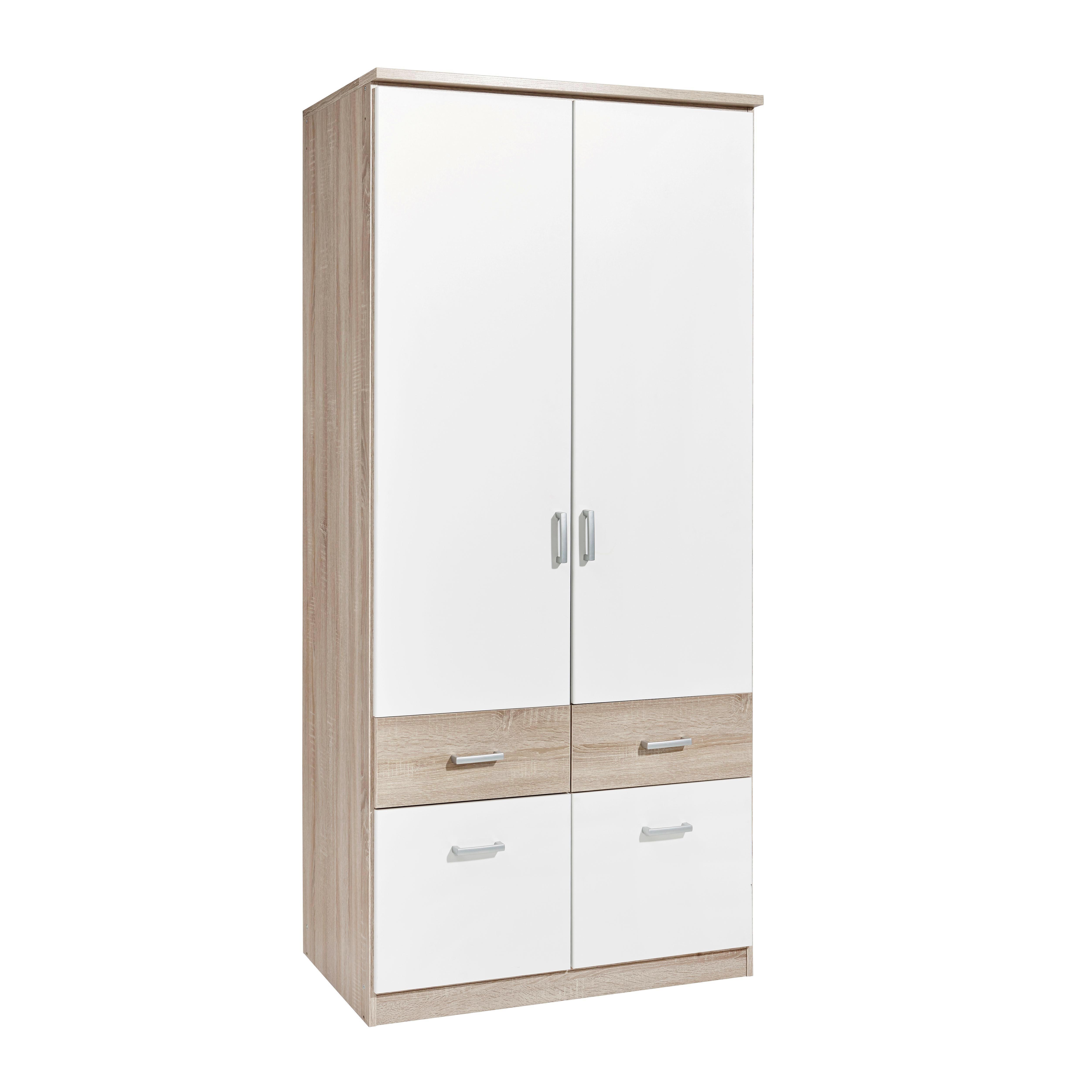 KLEIDERSCHRANK 2  Türig Sonoma Eiche, Weiß   Silberfarben/Weiß, Design,  Holzwerkstoff