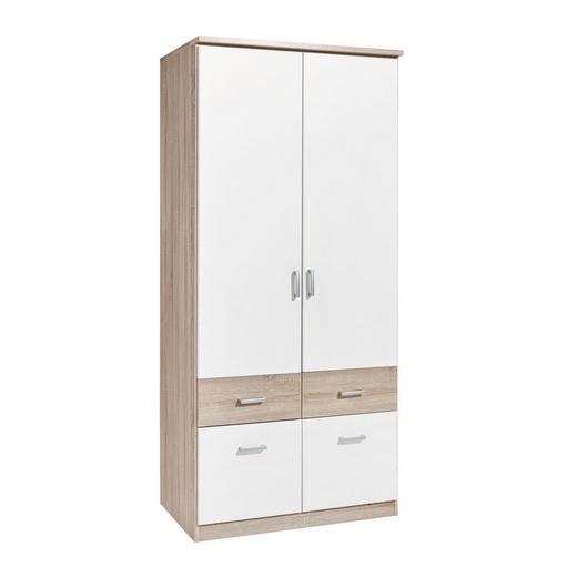 KLEIDERSCHRANK 2-türig Sonoma Eiche, Weiß - Silberfarben/Weiß, Design, Holzwerkstoff/Kunststoff (91/199/56cm) - Carryhome