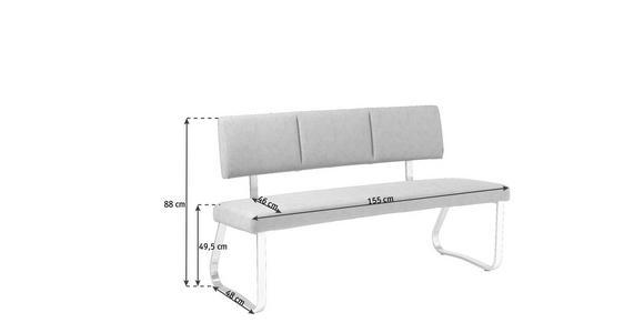 SITZBANK 155/88/48 cm  in Grau, Edelstahlfarben  - Edelstahlfarben/Grau, Design, Textil/Metall (155/88/48cm) - Xora