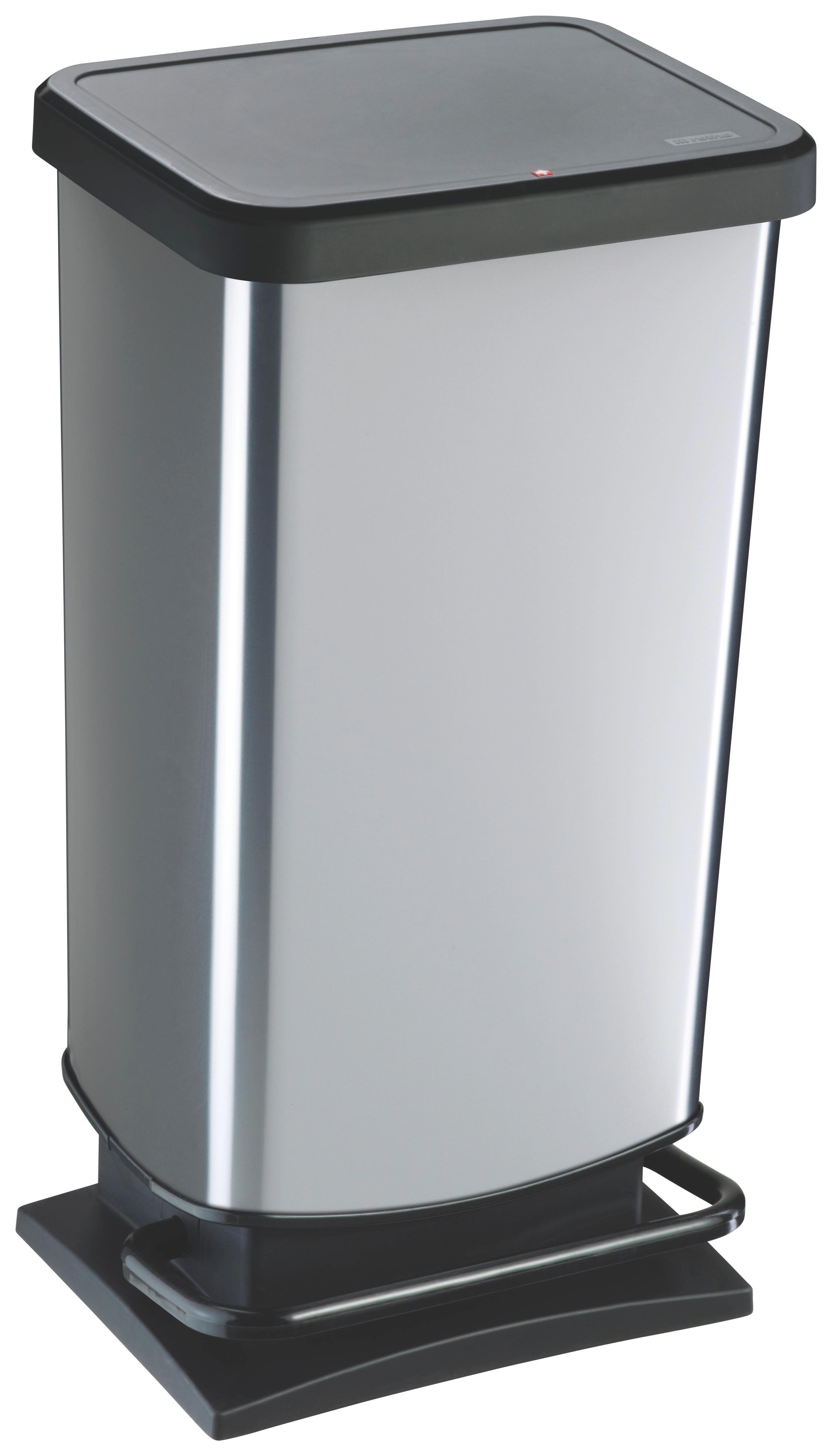 ABFALLEIMER - Silberfarben/Schwarz, Basics, Kunststoff (35,3/29,5/67,6cm)