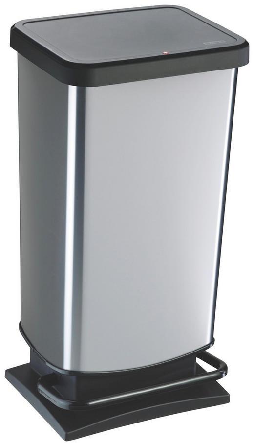 ABFALLEIMER 40 L - Silberfarben/Schwarz, Basics, Kunststoff (35,3/29,5/67,6cm)