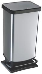 KOŠ ZA OTPAD - boje srebra/crna, Basics, plastika (35,3/29,5/67,6cm) - Rotho