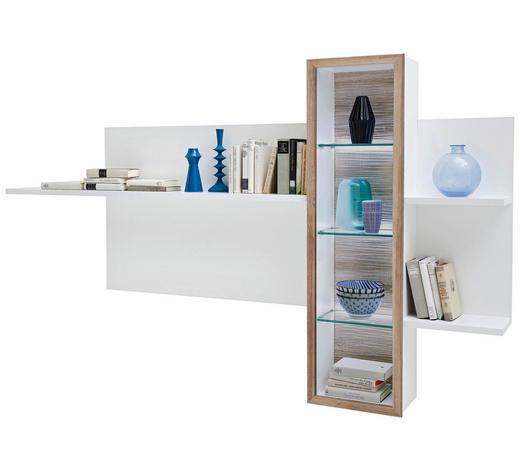 WANDBOARD in 220/132/26 cm Weiß, Eichefarben - Eichefarben/Weiß, Design, Glas/Holzwerkstoff (220/132/26cm) - Novel