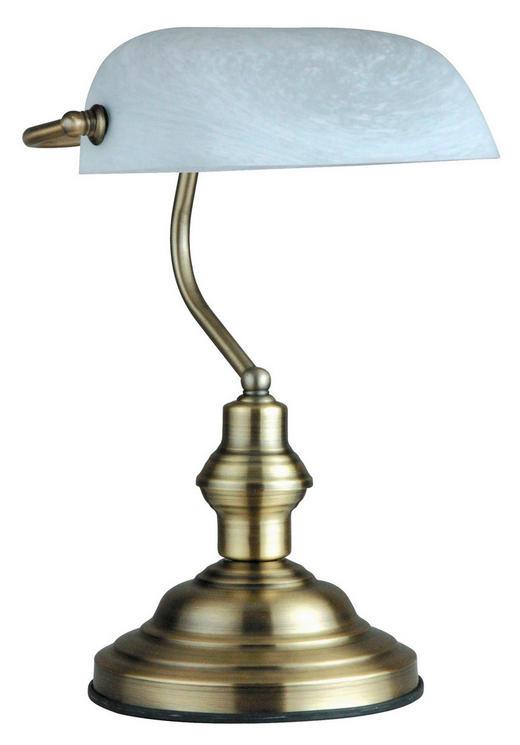 SCHREIBTISCHLEUCHTE - Messingfarben/Weiß, LIFESTYLE, Glas/Metall (25/36cm)
