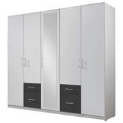 KLEIDERSCHRANK in Graphitfarben, Weiß - Silberfarben/Graphitfarben, Design, Glas/Holzwerkstoff (225/210/58cm) - Carryhome
