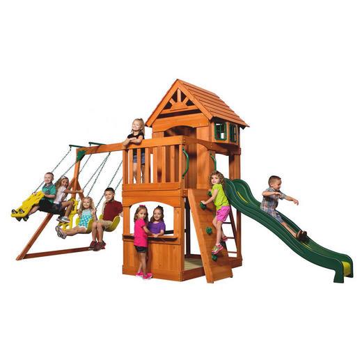 Spielturm Atlantic - Dunkelgrün/Braun, Basics, Holz (551,2/284,5/236,2cm)