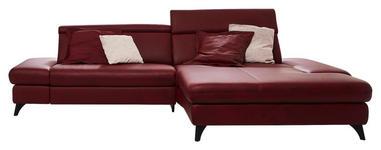 WOHNLANDSCHAFT in Leder Rot  - Rot/Alufarben, Design, Leder/Metall (316/184cm) - Cantus
